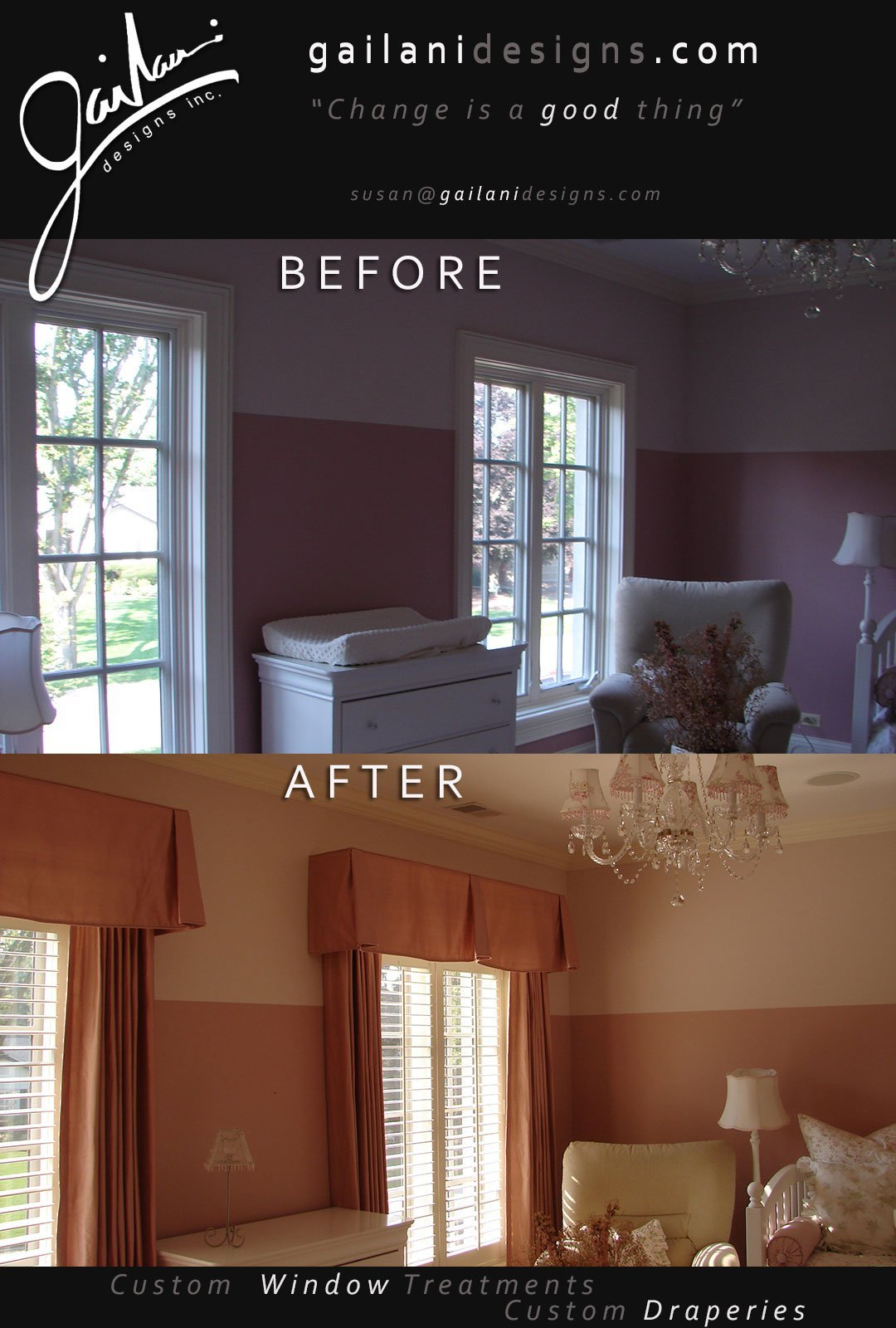 Gailani Designs - Before and After Custom Window Treatment v