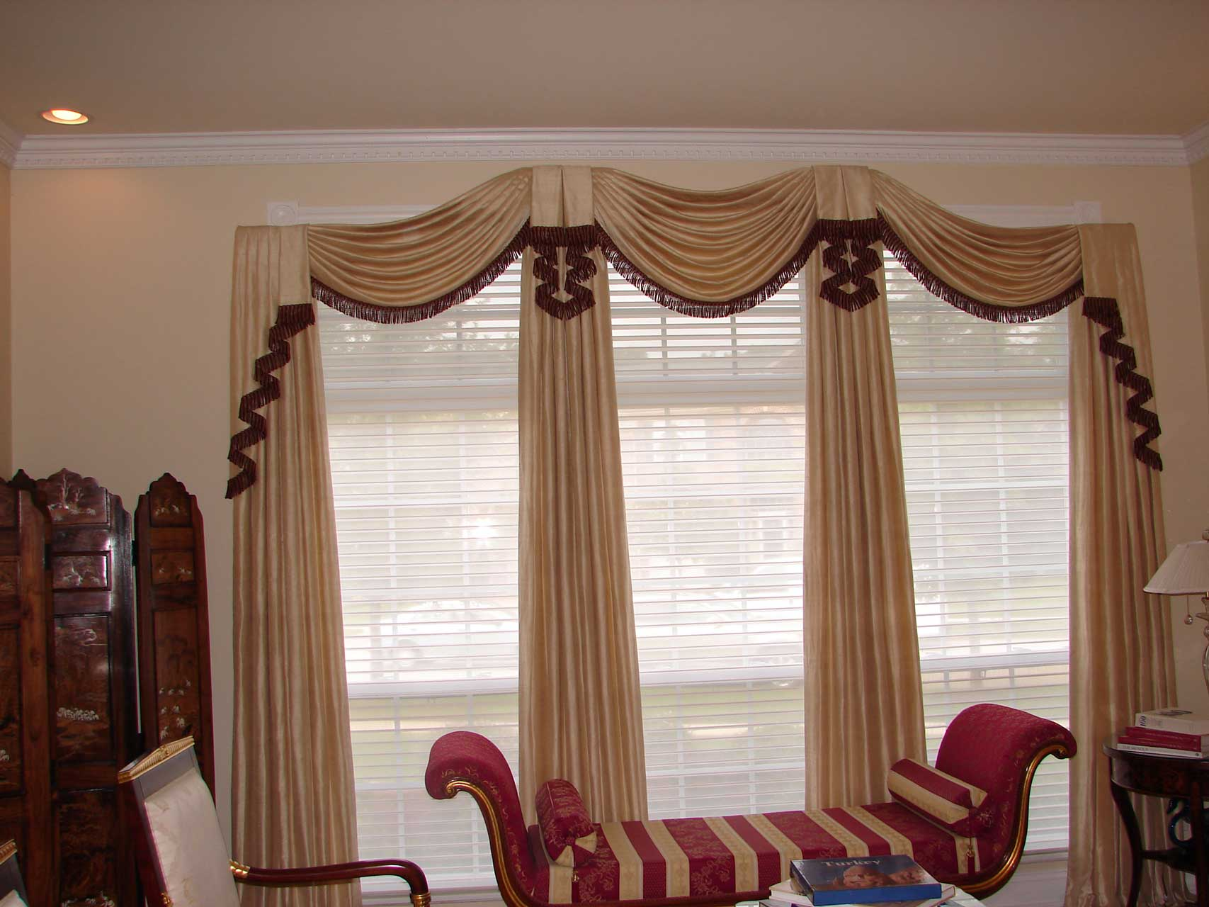 Living room gailani designs inc Elegant window treatment ideas