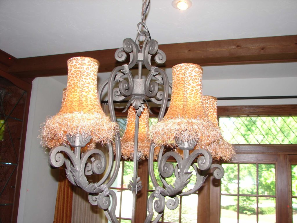 Chandelier with custom shades.
