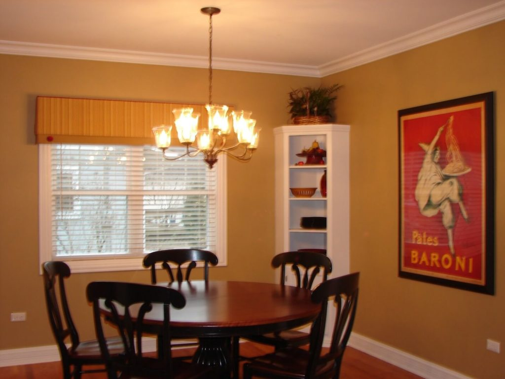 Casual dining room. Simple valance to enhance the clean urban look design. (Westmont Illinois)
